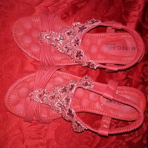 MarieClaire Red  Jeweled Sandal Wedges